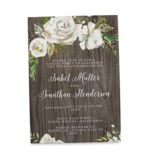 Wedding Reception Invitation Cards - Marriage Reception Invitation - We Eloped Party Invites - Custom, Personalized, Unique Card Stock - Rustic Floral Theme -