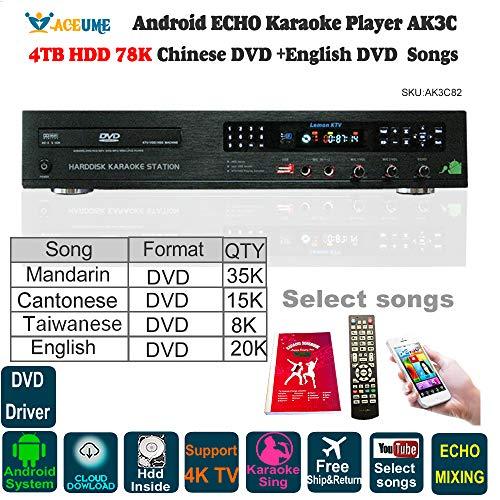 4TB HDD 78K English DVD+Chinese DVD Songs,Android Karaoke Player,Jukebox,Home KTV Sings,Free Cloud Download,DVD driver,Microphone Port,ECHO Mixing,Watch TV,KODI,YOUTUBÊ Songs.安卓點歌機,播放器,國語,粵語,台語,英語 ()