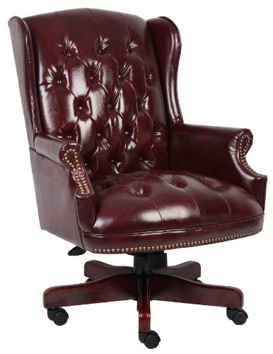 Boss Office Products B800-BY Wingback Traditional Chair in Burgundy