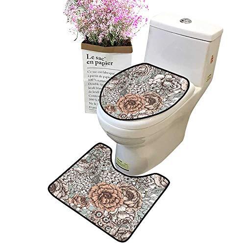 (2 Piece Bathroom Mat Pedestal Rug Bath Mat Peony Flowers Primrose lila Vintage Wallpaper Gentle Contour Toilet Mat and Toilet lid)