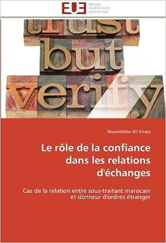 Le rôle de la confiance dans les relations d'échanges: Cas de la relation entre sous-traitant marocain et donneur d'ordres étranger (Omn.Univ.Europ.)
