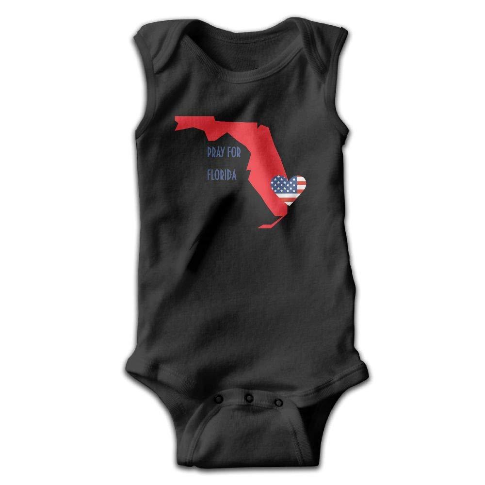MMSSsJQ6 Pray Florida Baby Newborn Crawling Clothes Sleeveless Rompers Romper Jumpsuit Black