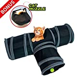 PetToys Cat Tunnel Toy Crackle Paper Collapsible Tube Three Connected Run Road Way Tunnel with BOUNS - Cat Muzzles