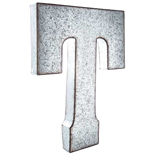 "Huge 20"" Metal Alphabet Wall Décor Letter T Rusted Edge Galvanized Metal"
