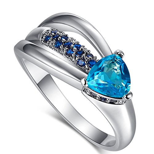 - Narica Women's Elegant 6mmX6mm Trillion Cut Blue Topaz CZ Wedding Ring Band