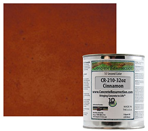 Ten Second Color (TSC) Concrete Dye Concentrate Makes 32oz .(Cinnamon) Professional Grade and Easy to use. Brilliant Bold Colors. Semi-Transparent Cement Dye. Dries in Seconds (Cinnamon Stain Color)