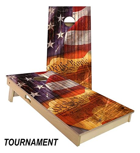 We The People Cornhole Board Set 4' by 2' Tournament size by Slick Woody's Cornhole Co.