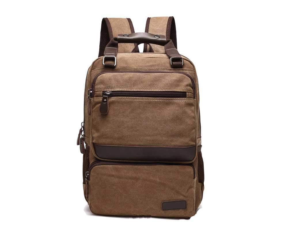 Amyannie Pure Color Simple Canvas Backpack Travel Outdoor Men's Retro Large-Capacity Canvas Shoulder Bag by Amyannie (Image #1)