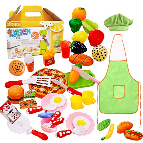 - ebeau Play Food Set for Kids 40 Pcs Pretend Food Playset Kitchen Cooking Sets Toys for Educational Learning Fake Plastic Foods for Toddlers Kids Girls Boys Inspiring Imagination with Apron and Hat