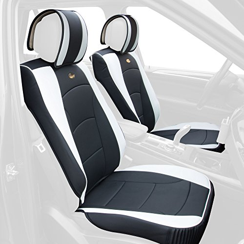 Bmw X5 Seats (FH Group PU205WHITE102 Seat Cushion (Ultra Comfort Leatherette Front (Airbag Compatible) White))