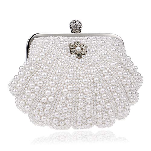 Color White Clutch Bridal Party Purse Package Evening Party Dinner Handbag Frosted White Dress Shell Beaded Bag Teenage 6ZyqfrWdZT