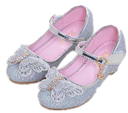 WLITTLE Bailarinas para niña plateado