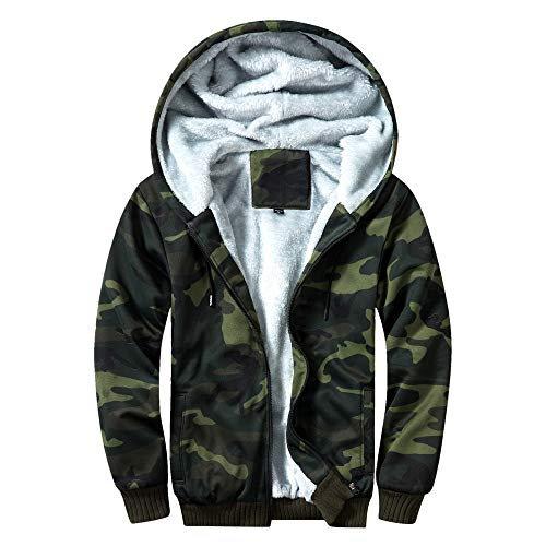 TOLOER Men's Pullover Winter Fleece Hoodie Jackets Full Zip Warm Thick Coats Army Green X-Large