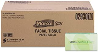 product image for 100% Recycled Convenience Pack Facial Tissue, Septic Safe, 2-Ply, White, 100 Sheets/Box, Each