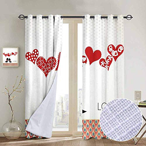 hengshu Love Room Darkened Insulation Grommet Curtain Queen and King Bird Couple Kissing Hanging Valentines Heart and Abstract Pattern Living Room W84 x L72 Inch Multicolor
