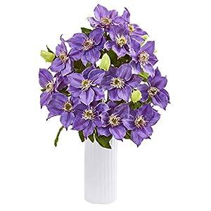 "Nearly Natural 1905-LV 21"" Anemone Artificial White Vase Silk Arrangements Lavender 55"