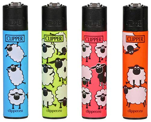 4 x Funny Sheep Farm Animal Clipper Lighters, Clipper Lighter, Gas Lighter
