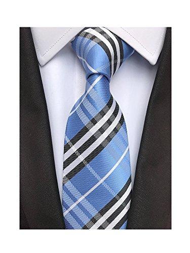 Men's Classic Checks Light Blue Jacquard Woven Silk Tie Necktie + Gift Box