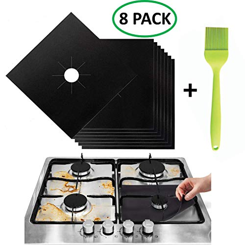 (Stove Burner Covers - Gas Range Protectors Countertop Accessories for Kitchen Reusable, Non Stick, Dishwasher Safe, Heat Resistant Stovetop Guard 8 Pack with Silicone Oil Brush)