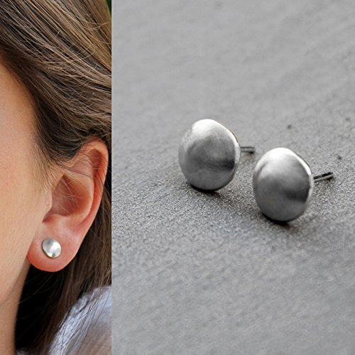 - Handmade 925 Sterling Silver Post Earrings for Women, 8mm Round Dome Studs Nickel Free