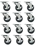 "12 PK 2"" Swivel Caster WITH BRAKE Wheels Hard Rubber Base with Top Plate & Bearing"