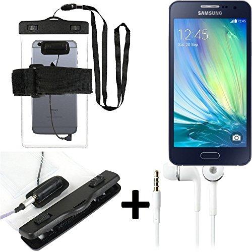 Estuche estanco al agua con entrada de auriculares para Samsung Galaxy A5 + auricular incluido, transparente | Trotar bolsa de playa al aire libre caja brazalete del teléfono caso de cáscara bajo play