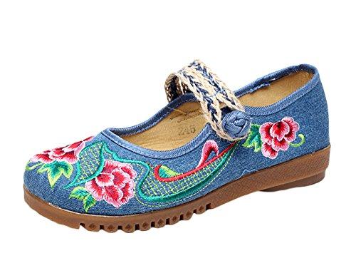 Insun Damen Mary Jane Schuhe Freizeit Slippers Bequeme Flats Blume Stickerei Stoffschuhe Blau