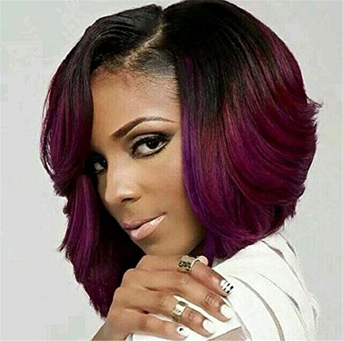 ATOZWIG Ombre Red Bob Wigs for Black Women Synthetic Short Wigs for Women Sale Short Ombre Bob Wig Cheap African American Wigs