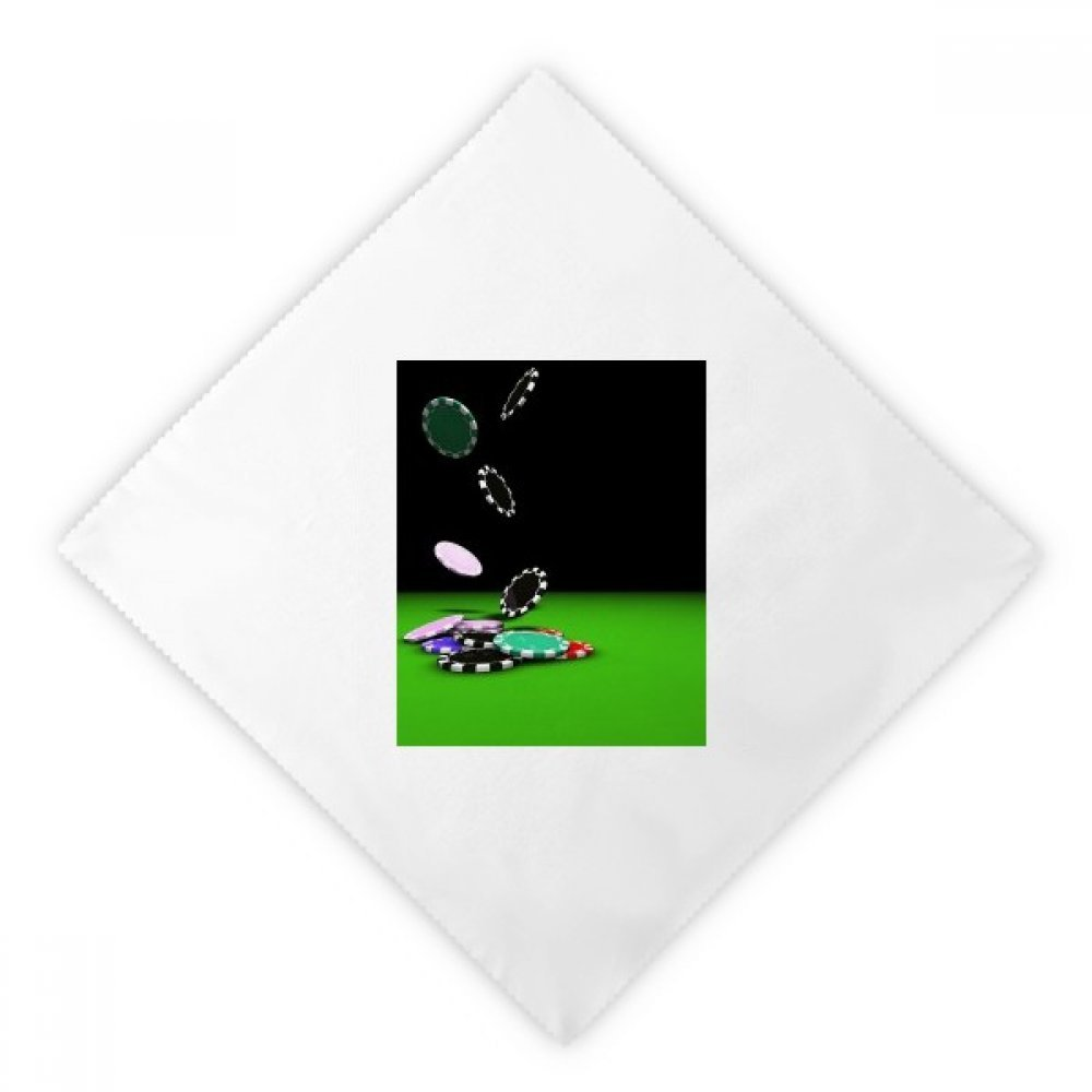 Chips Scattered Gambling Photo Dinner Napkins Lunch White Reusable Cloth 2pcs