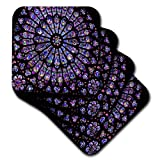 3dRose CST_50227_3 Notre Dame Cathedral Stained Glass Ceramic Tile Coasters, Set of 4