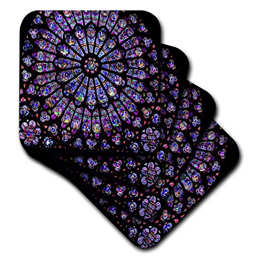 (3dRose CST_50227_3 Notre Dame Cathedral Stained Glass Ceramic Tile Coasters, Set of 4)