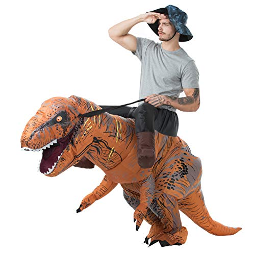 Cheap Halloween Fancy Dress Costumes (T-Rex Riding Costume Adult Size Inflatable Dinosaur Costume Fancy Dress for Halloween Cosplay)