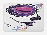 Ambesonne Day Of The Dead Bath Mat, Sugar Skull Girl Face with Make Up Hand Drawn Mexican Artwork, Plush Bathroom Decor Mat with Non Slip Backing, 29.5 W X 17.5 W Inches, Pale Orange Plum Seafoam