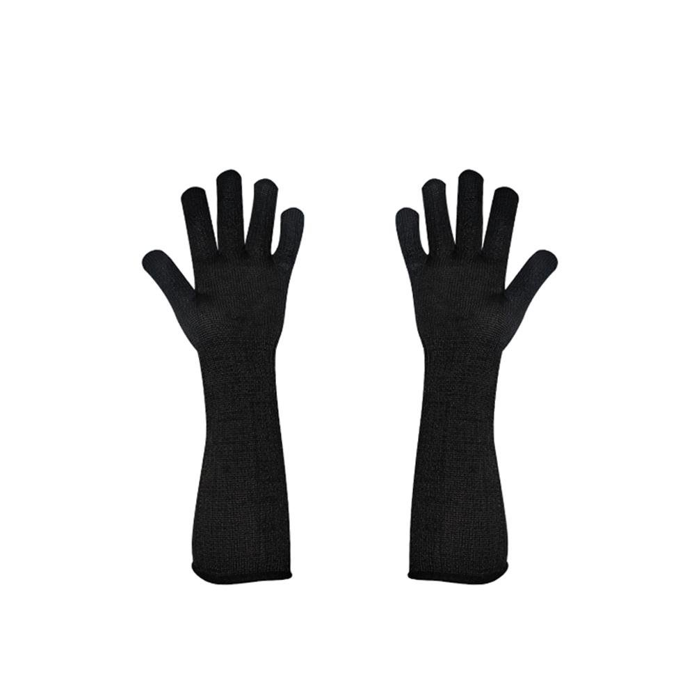 Extended black anti-cutting gloves wear-resistant stainless steel wire outdoor self-defense glass scratching labor safety protection 40cm