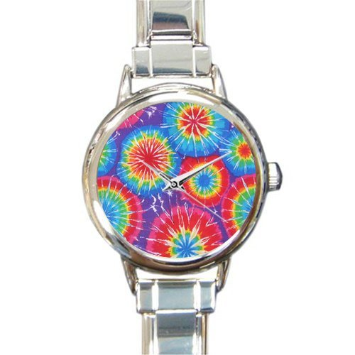 Personalized Christmas Gift Watch Tie Dye Round Italian Charm stainless steel Watch