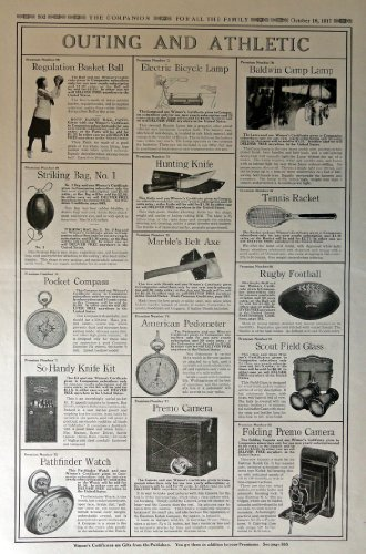p,Rubby Football,scout field glass, folding premo camera,american pedometer,marble's belt axe,tennis racket, 1917 Full Page B&W [ads]Illustrations, 11
