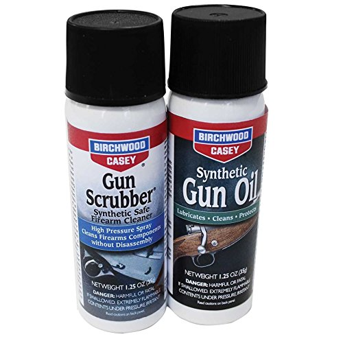 Birchwood Casey Gun Scrubber 1.25 oz & Synthetic Gun Oil 1.25 oz Aerosol Combo Pack () by Birchwood Casey