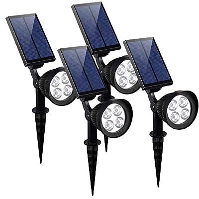 KOMAES Solar Spotlights Outdoor, Waterproof Solar Security Landscape Lights, Adjustable Solar Garden Light with Auto On/Off for Yard Driveway Pathway Pool Patior Garden, Walkways (4 Packs)