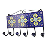 IndianShelf Handmade 3 Piece Ceramic Navy Blue Yellow Floral Tiles Antique Look Wall Hanging Key Hooks/Cloth Coats Hangers/Key Holders