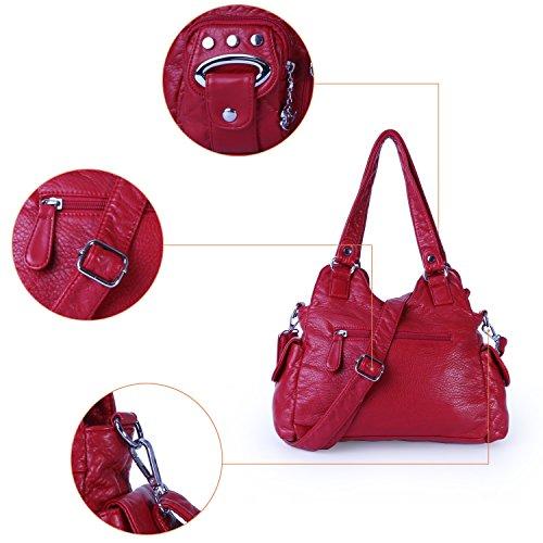 Mini Purse Top Angel Multi 3 Pockets Leather Bags Shoulder PU Women Barcelo Zippers Red Handbags SnXqFwx8Eq