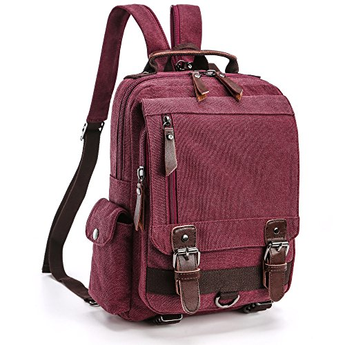Backpack Purse, F-color Dual Use Canvas Sling Bag Mini Backpack for Women Girls
