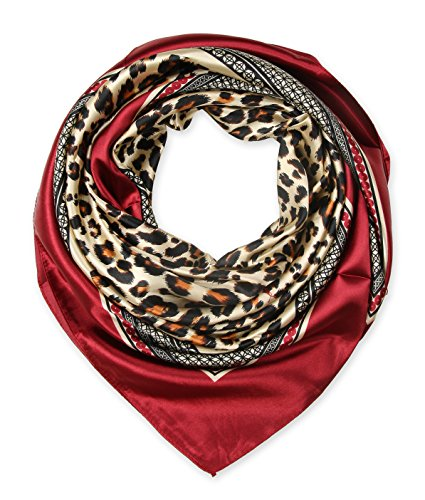 Leopard Silk Scarf - Large Square Satin Silk Like Lightweight Scarfs Hair Sleeping Wraps for Women Crimson Red Leopard Pattern