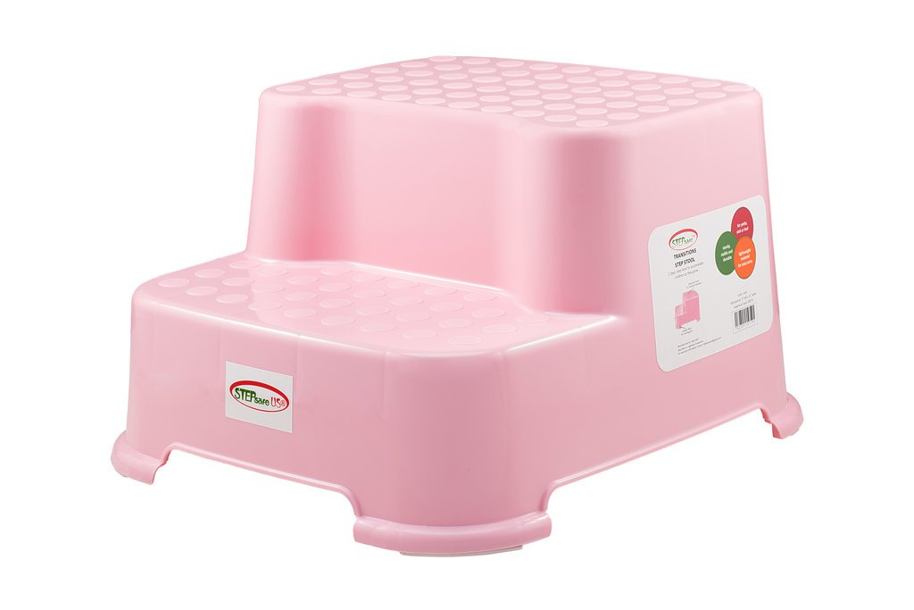 StepSafe Step Stool 2 Step -For kids and Adults  Non Slip Surface and Feet  For Potty, Bathroom and Kitchen  Safe Materials  200 LB Capacity, 8''H (Pink)