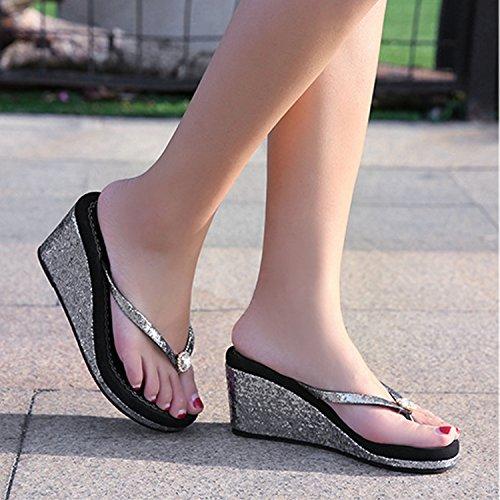 Frestepvie Toe De Brillant Strass Tongs Paillettes Compensée Clip Chaussure Comfortable Flops Flip Mule Mode Noir Eté Sandales Plage Femme Fille 1A14qwF