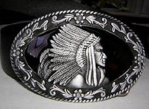 (Silver and Pewter Indian Cherokee Apache Belt Buckle)