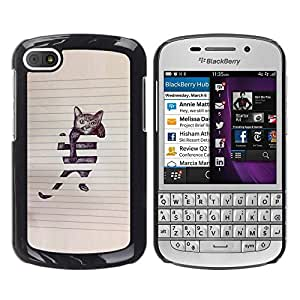 FlareStar Colour Printing Cat Funny Cute Painting Sketch Pet Kitten cáscara Funda Case Caso de plástico para BlackBerry Q10