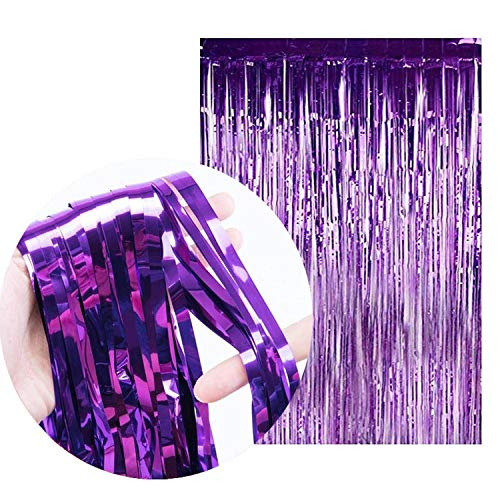 2M Rainbow Backdrop Foil Curtains Background Supplies Birthday Party Decoration,Purple,1mx3m(Size)