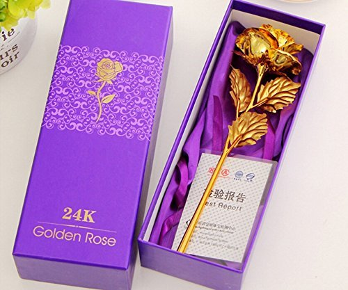Styleys Plastic 24K Gold Rose with Gift Box and Carry Bag, Standard Size  Golden