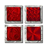 Statements2000 Set of 4 Handmade Red Metal Wall Art Accents by Jon Allen, 4 Squares Red