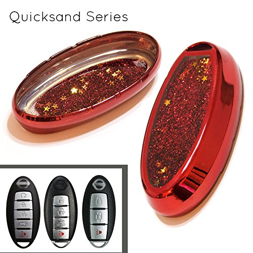 Atonix Red TPU Liquid Glitter Keyless Entry Remote Key Fob Skin Shell Cover Case for Infiniti 3 4 5 Button